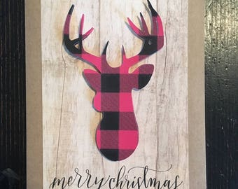 Buffalo Plaid Deer Christmas Cards and Envelopes with envelope seals