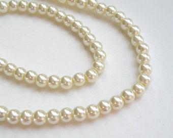 Ivory glass pearl beads round 6mm full strand 7744GB