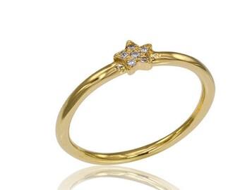 14K Diamond Star Ring, Star Engagement Ring, Diamond stacker Ring, Engagement Ring, Stackable Diamond Ring, Bridal Ring, Gold Star Ring