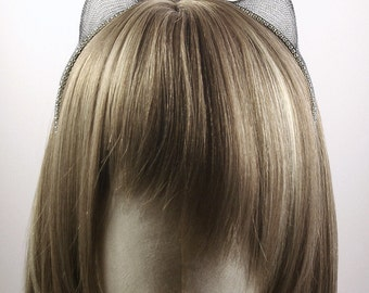 Metal Mesh & Rhinestones Kitty Ears Headband