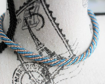 Blue torsade necklace, seed beads