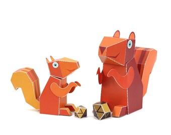 Maxi Squirrel Paper Toys - DIY Paper Craft Kit - 3D Paper Animals - Kids Squirrel - 3D Model Paper Figure