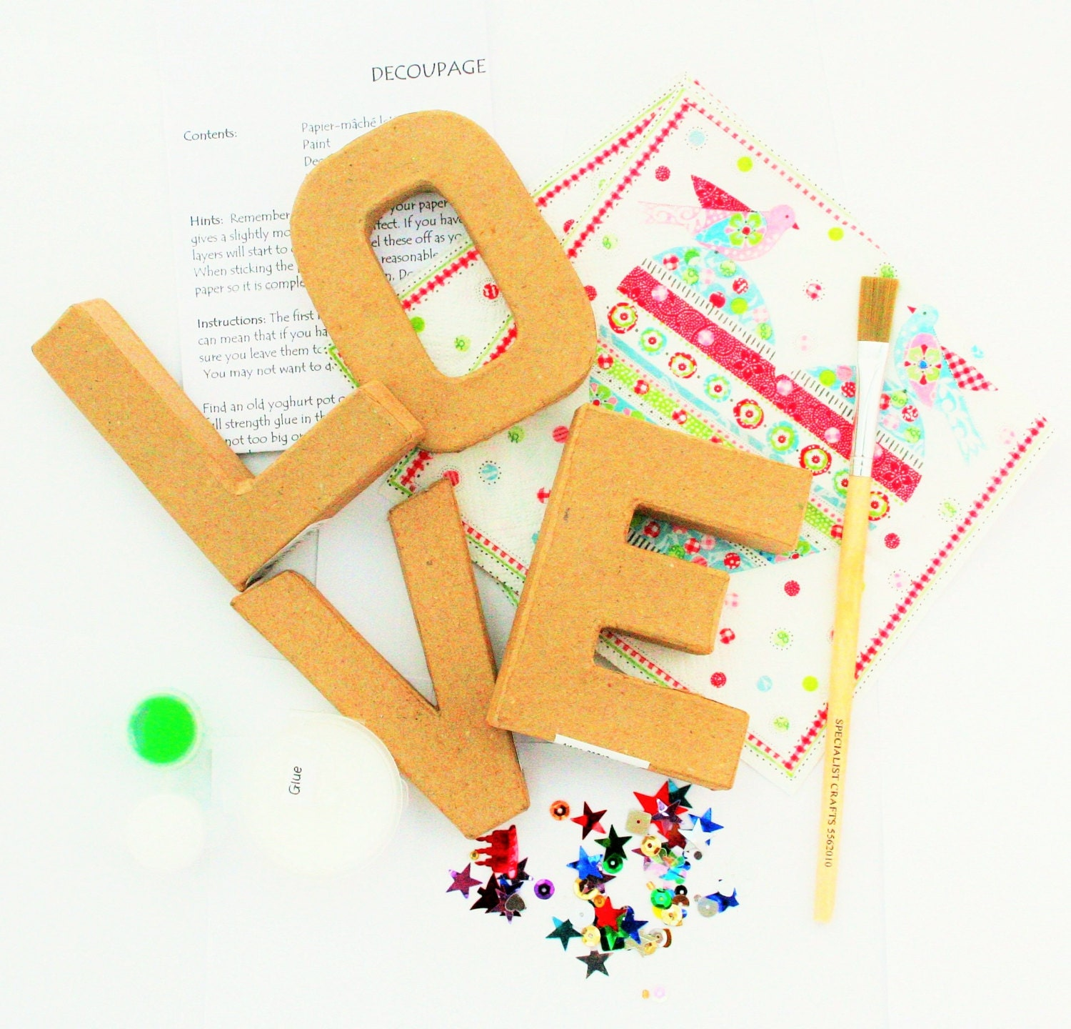 Decoupage letters kit love do it yourself decoupage zoom solutioingenieria Image collections