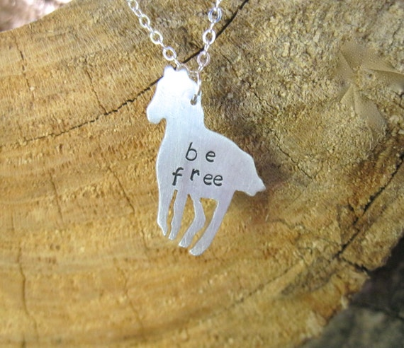 Be Free Horse necklace-Vegan Necklace-Vegan Jewelry-Gift-Birthday-Anniversary-Horse Lover-Animal Lover-Free Spirit-Personalized-Eco Friendly