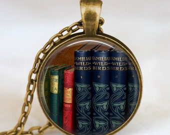 Colorful books necklace , Teacher necklace,Book pendant , Books  jewelry ,  librarian gift, teacher jewelry , book nerd gift necklace