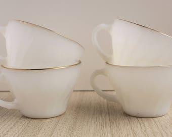 Anchor Hocking Milk Glass Gilded Teacups Set of 4 - Vintage Anchor Hocking Teacups Milk Glass Set of 4 - Swirl Milk Glass Teacups Gilded