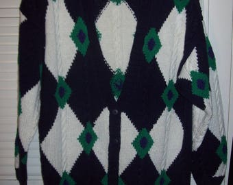 Sweater Large - XL, Vintage Izod Cardigan Sweater, Hand-Knit 80s Find.  - see details