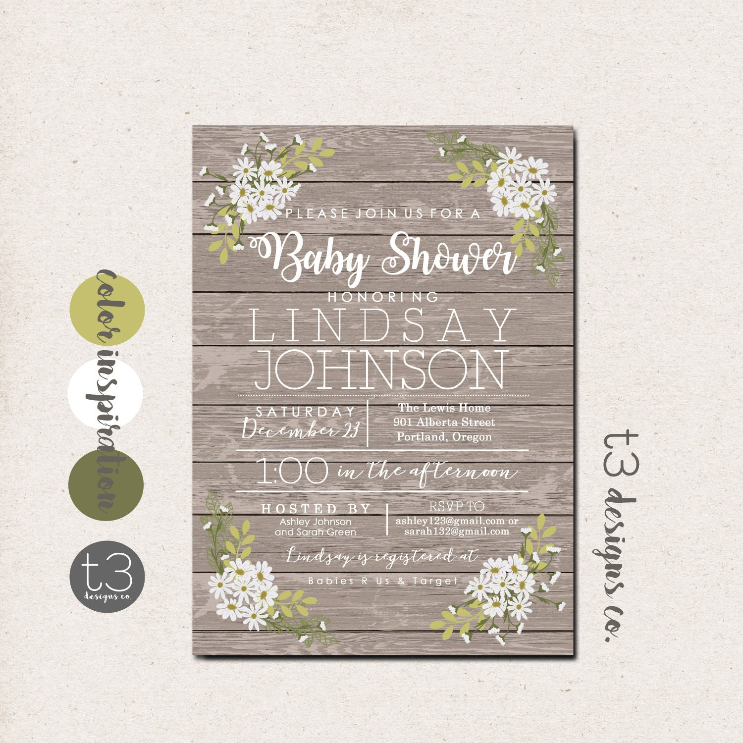 Rustic Daisy Baby Shower Invitation, Gender Neutral Baby Shower ...