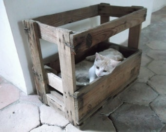 SALE Authentic French Crate Cat Bed