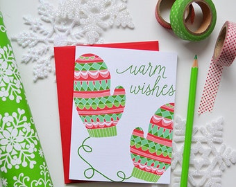 Warm Wishes, seasonal Folded Note Cards, Christmas, Stationery, Hand Drawn, Illustration, Holiday, Greeting Card, mittens, happy holidays