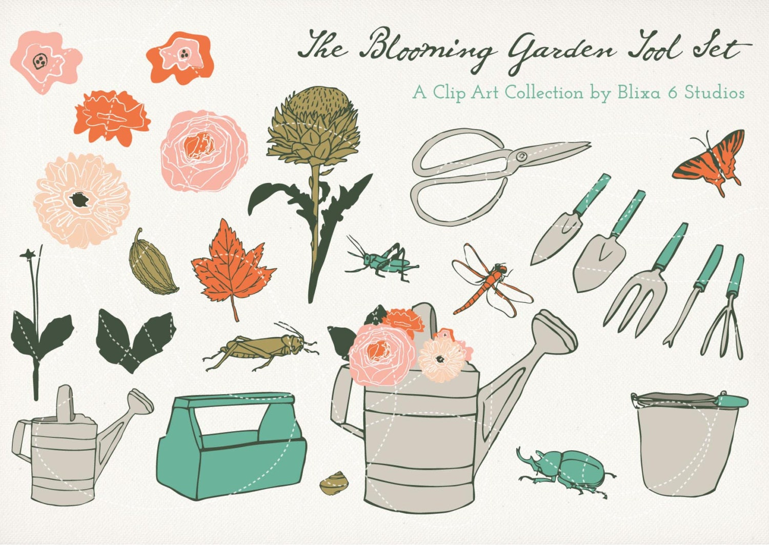 Blooming Garden Digital Clip Art Drawing Set Of 26 Hand Illustrated Bugs,  Flowers And Tool Graphics For Crafts, Scrapbooks, U0026 Collages From  Blixa6Studios On ...
