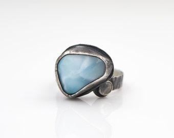 Larimar - Moonstone - Hammered Sterling Silver - Adjustable Ring