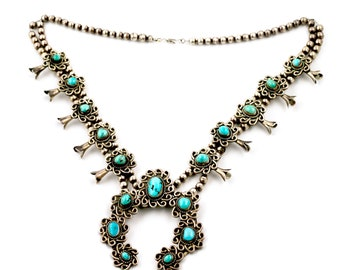 Stunning 1970s Navajo Turquoise Squash Blossom Necklace