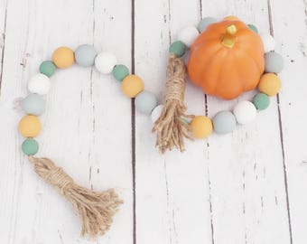Autumn Breeze Wood Bead Farmhouse Garland