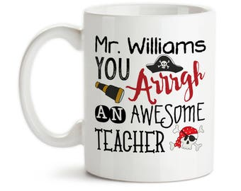 Coffee Mug, Personalized School Teacher Gift 001, Red, Black, Funny Pirate, Awesome Teacher, Favorite Teacher, Gift Idea, Large Coffee Cup
