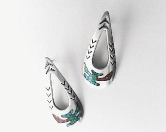 Peyote Bird Inlay • Vintage Navajo Hand Made Sterling Inlay Earrings
