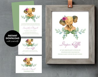 BABY SHOWER INVITATION Girl, Invitation Template Set, Diaper Raffle, Thank You Card, Couples Baby Shower, Elephant, Instant Download Invite