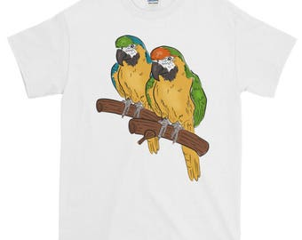 Macaw Parrot T Shirt Blue and Gold Macaw Short-Sleeve T-Shirt