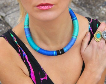 Blue Choker Necklace African Necklace Choker Necklaces Ethnic Necklace African Jewelry Tribal Necklace Festival Fashion Gift For Her, Afro