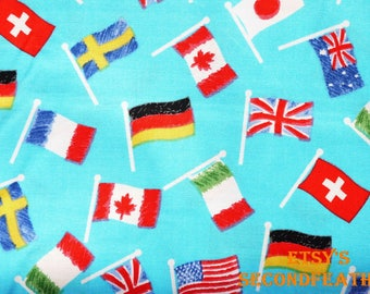 World Kids Flags - Hand-drawn Style - Spotlight Store - 100% Cotton Fabric - Fat Quarter - more for one cut