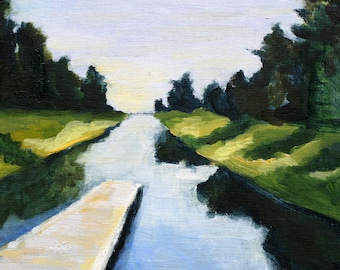 oil painting of water and boat dock print of original oil painting river and dock