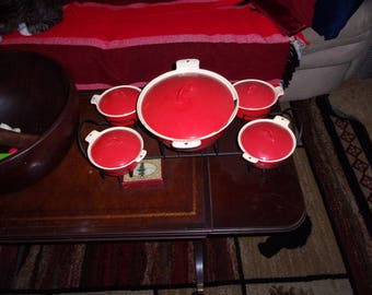 Griswold Red Enamel Casserole  Set