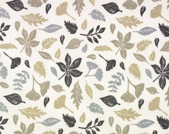 Grey and Taupe Autumn Falling Leaves Oilcloth Wipeclean Fabric Tablecloth