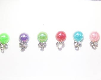 A Pack of 6 Multi Color Pearl Bindis Studded with Rhinestones,Colorful Bindis,Pearl Bindis,Pearl Face Jewels,Pearl Stickers,Indian Pearl