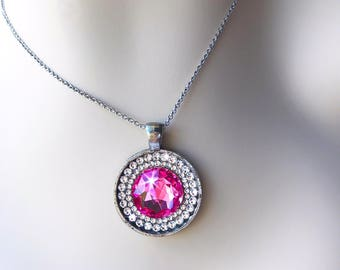 Rose Pink Swarovski Crystal Necklace, Bright Pink Vintage Swarovski Crystal Pendant Necklace, Crystal October Birthstone Necklace