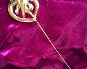 Stitch form heart decorated with standard strass hatpin Christian Lacroix