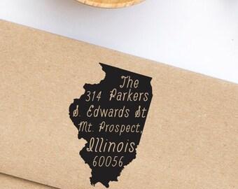 Custom Address Stamp, Illinois State Pride Address Stamp, Return Address Stamp Style No. 96