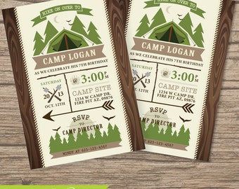 Camping invitation, Camping Invite, Camping Party, Campfire, Sleep Over Invitation, Camp Out, boy scouts, S'mores, Camping Party, Birthday