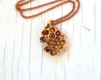 Real Honeycomb Necklace, beehive pendant