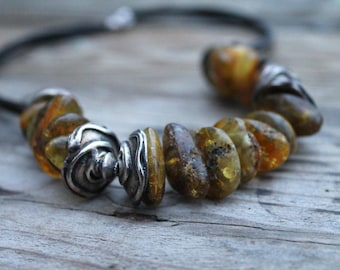 Natural Raw Baltic Amber Necklace, Genuine Baltic Amber, Huge, Statement Necklace, Extra Large, Earthy Colors Ochre Brown Dark