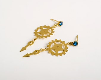Beautiful Clock Part Earrings With Blue Crystal - Steampunk Jewelry - Urban Jewelry - Clock parts Jewelry