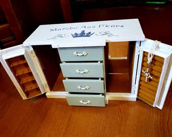 Green and White Marché Aux Fleurs (Flower Market) Vintage Upcycled Jewelry Box 2 Inside Mirrors 4 Drawers Ring Holder