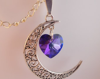 Silver Moon Necklace with Indigo Purple Heart Crystal