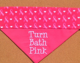 Breast Cancer Awareness ~ Pink Ribbon ~ Personalized ~ Over The Collar Dog Bandana