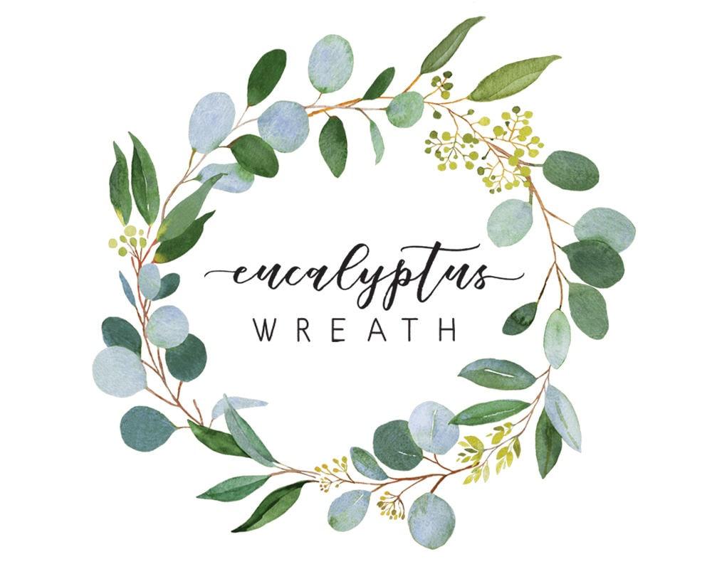 Eucalyptus wreath watercolor illustration wedding greenery for Watercolor greenery