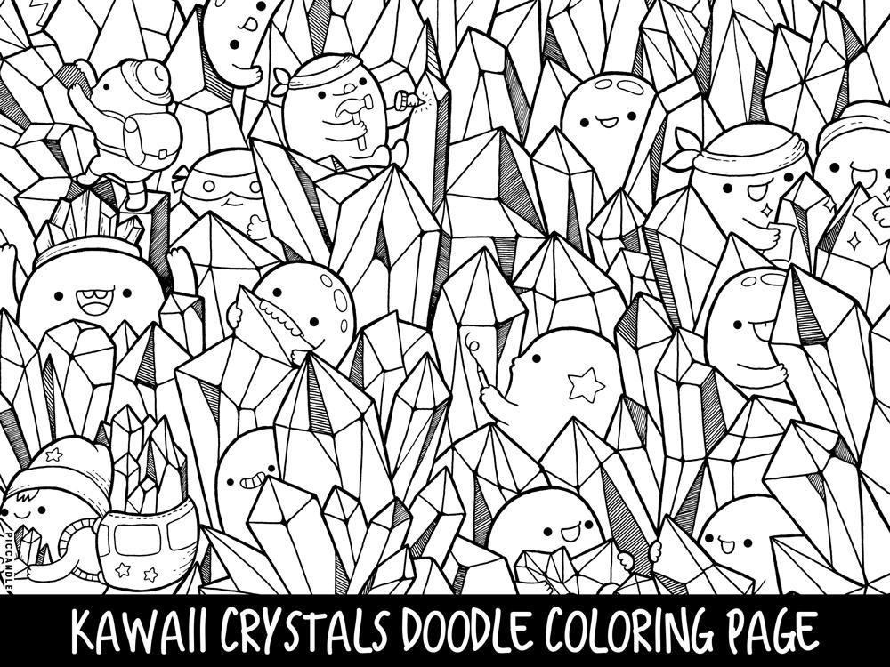 Crystals Doodle Coloring Page Printable Cute/Kawaii Coloring
