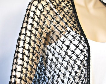 Vintage Shawl Black Beaded Macrame Net Fringed Tiangle Cape Hollywood Boho Wrap