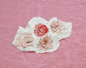 Antique French Silk Ribbon Work Ombre Pink Rose Appliqué Trim 4 Available