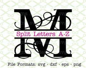 Flourish Split Letter Monogram SVG, Dxf, Eps, Png; Split Letter Monogram Svg,  Split Letter Monogram for Cricut & Silhouette, Svg Cut FIles