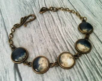 Phases of the moon bracelet, full moon bracelet, space bracelet, solar system jewelry, universe, gift idea