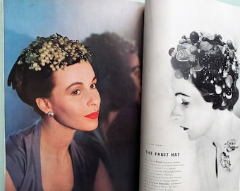 Vintage 1950s Vogue Magazine Coronation Number June 1953 50s UK Edn Fashion Elizabeth II Royalty Cecil Beaton Women's Couture Fashion Hats