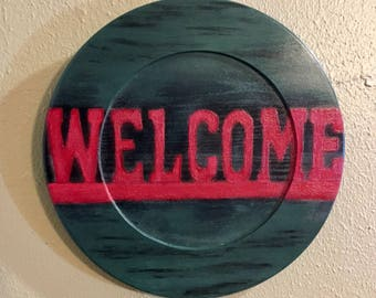 "Wooden welcome ""plate"""