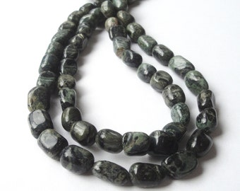 "Jasper Pebble Beads - Nugget Beads - Dark Olive Green Jasper - Gemstone Smooth Nugget Bead - Center Drilled - 16""Strand - DIY Jewelry Making"
