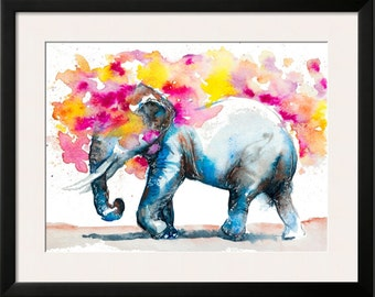 Elephant watercolor painting-- elephant print, elephant art, daydreaming, clouds, kid room, baby room