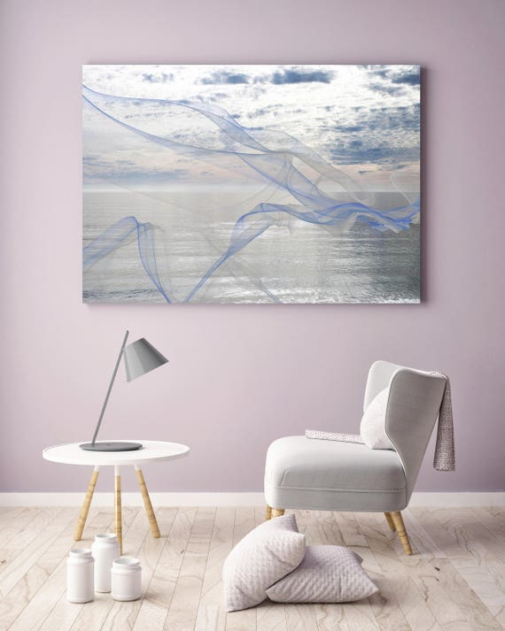 """ORL-11595 Silver ocean breeze 12. Extra Large Contemporary Blue Canvas Art Print, Seascape Abstract Canvas Art up to 80""""  by Irena Orlov"""