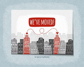 30 Moving Announcement Postcards | Blank | We've Moved | New Address | New Home | Change of Address | City Buildings | Pupsiku | Cardstock
